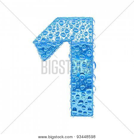 Fresh Blue alphabet symbol - digit 1. Water splashes and drops on transparent glass. Isolated on white
