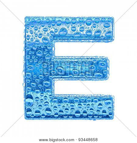 Fresh Blue alphabet symbol - letter E. Water splashes and drops on transparent glass. Isolated on white