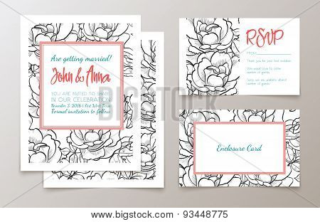 A set of office supplies for weddings  invitation,