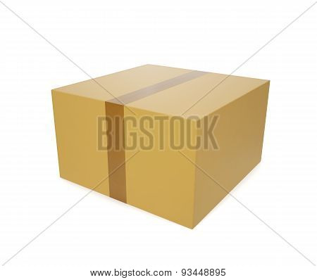 Closed cardboard box with tape, to deliver the goods, isolated on white background.