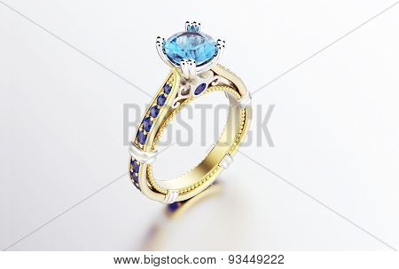 Golden Ring with aquamarine. Jewelry background