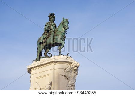 Statue of King Jose on the Commerce Square, Lisbon, Portugal.