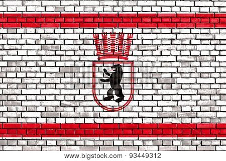 Flag Of East Berlin Painted On Brick Wall