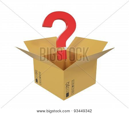 Open cardboard box with question above the box.