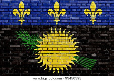 Flag Of Guadeloupe Painted On Brick Wall