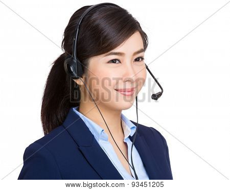 Customer services officer look away from camera