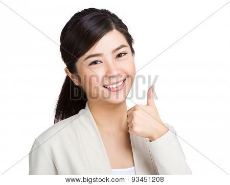 Woman with thumb up gesture