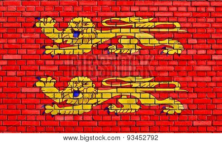 Flag Of Lower Normandy Painted On Brick Wall
