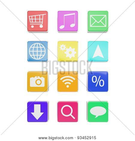 application icons isolated on white background.