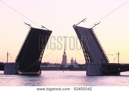 Landscape with the image of open Palace bridge from the Neva river in St. Petersburg, Russia,