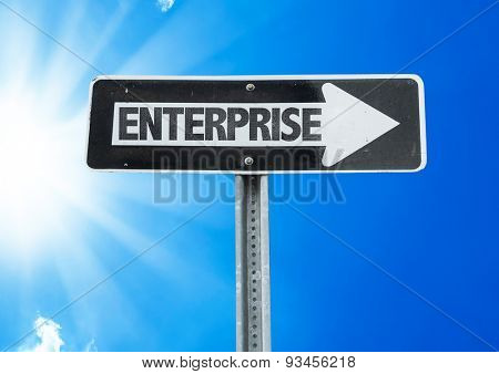 Enterprise direction sign with a beautiful day