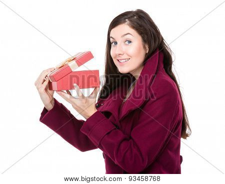 Woman check up with gift box