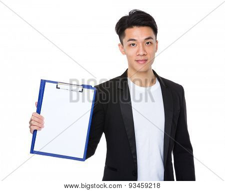 Asian businessman show with the paper on clipboard