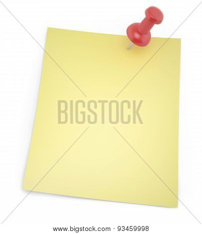 Blank paper for notes with shadows thumbtack isolated on a white background.
