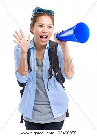 Asian woman excited to use megaphone