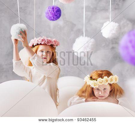 Cute twins sisters