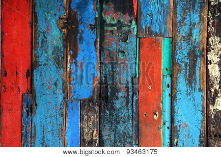 Construction Of Aged Bright Colored Timber Planks
