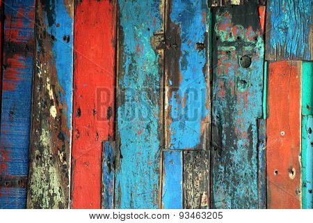 Brightly Colored Panels Of Weathered Wooden Boards