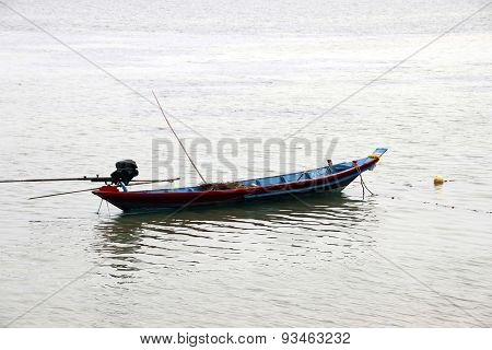 Taiwanese Fishing Boat Moored On Calm River
