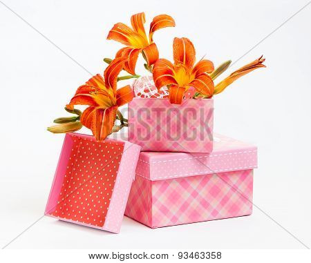 Decorative Gift Boxes With Orange Lily Flowers