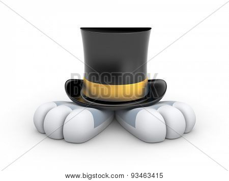 Black Top hat with gold stripe
