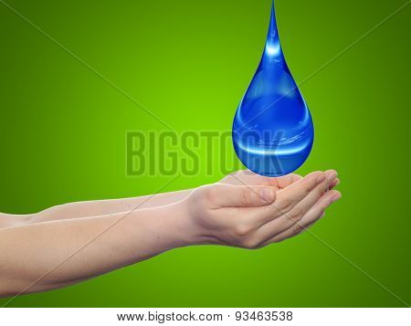 Concept or conceptual blue water or liquid drop falling in two woman hands on green gradient background