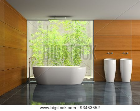 Interior of the bathroom with opracity wall 3D rendering