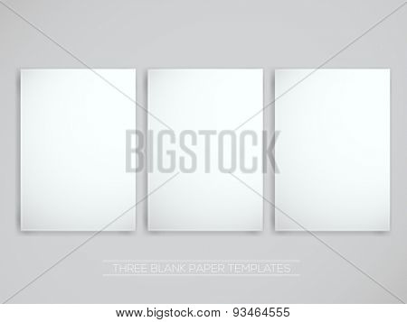 Three Blank Papers | Vector Illustration