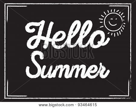 Hello Summer text on Blackboard | Inspirational Design