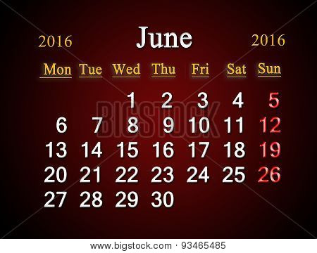 Calendar On June Of 2016 On Claret