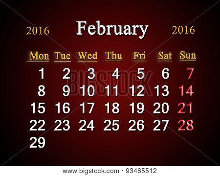 Calendar On February Of 2016 On Claret