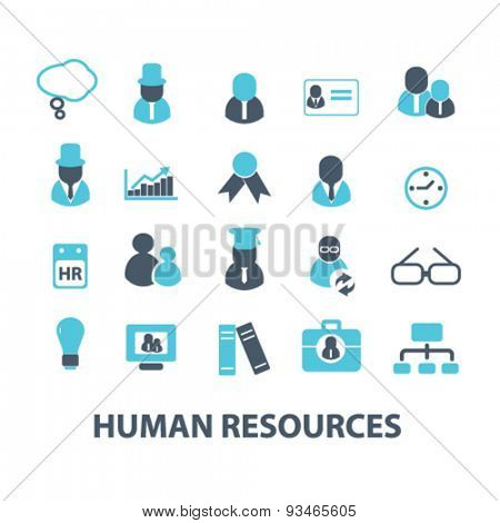 human resources icons, signs, illustrations set, vector