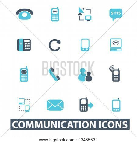 communication, phone, mobile, connection icons, signs, illustrations set, vector