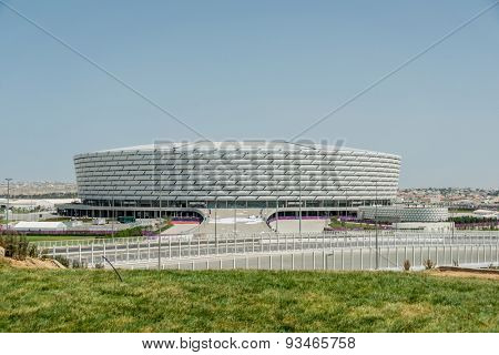 BAKU - MAY 10, 2015: Baku Olympic Stadium on May 10 in BAKU, Azerbaijan. Baku Azerbaijan will host the first European Games