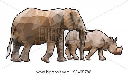 Polygonal Elephant and Rhinoceros