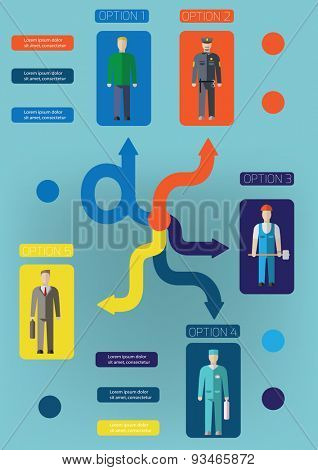 Infographic people of different professions. Vector illustration
