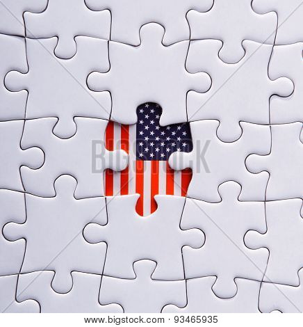Jigsaw pattern of USA flag