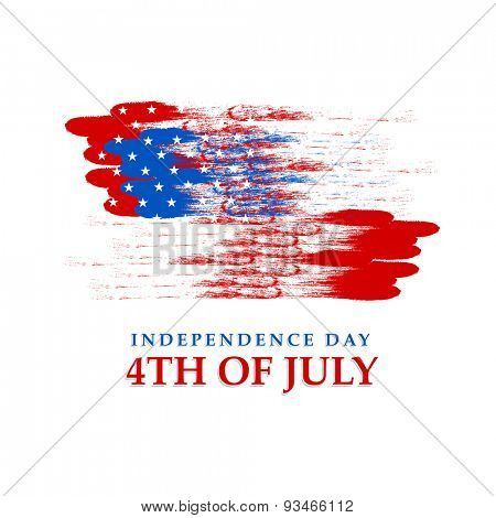 4th of July,  Independence Day celebration with American national flag colors on white background.