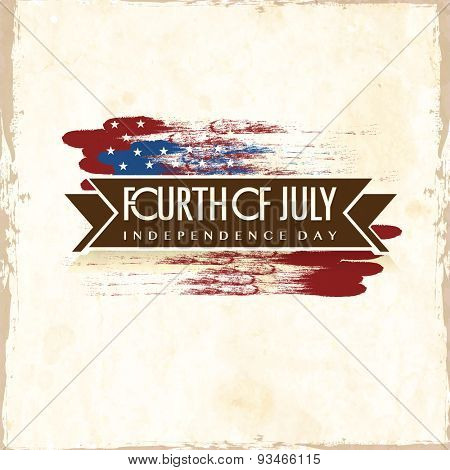 Fourth of July, American Independence Day celebration poster, banner or flyer design on national flag colors background.