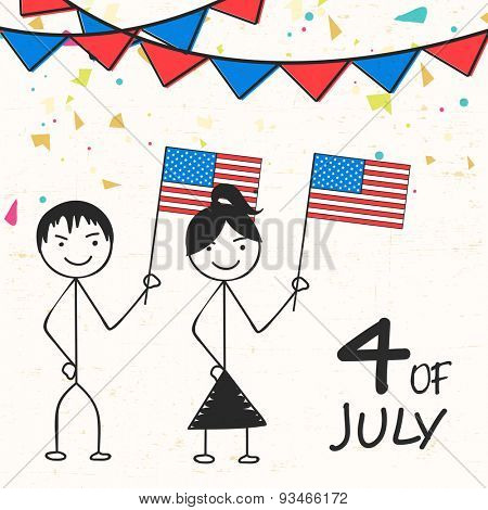 Cartoon of kids holding American national flags on bunting decorated background for 4th July, Independence Day celebration.