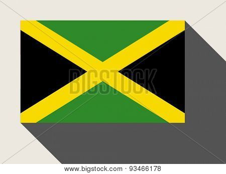 Jamaica flag in flat web design style.