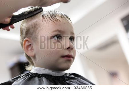 Kid At Hairdresser Salon