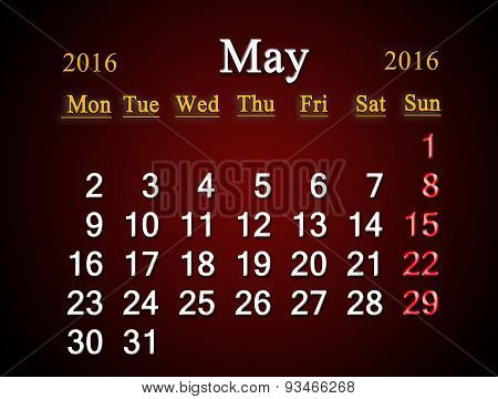 Calendar On May Of 2016 On Claret