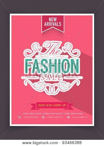 The Fashion Sale on new arrivals, can be used as poster, banner or flyer design.
