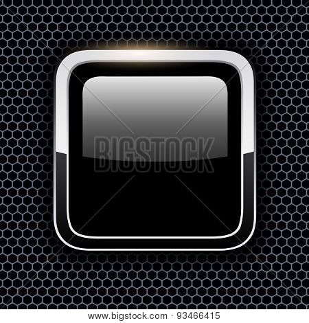 Empty icon with chrome metal frame, Rounded square black button with hexagon texture background, vector illustration.
