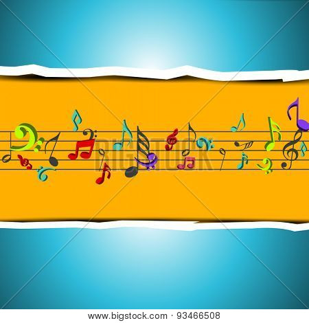 Colorful musical notes on stylish background. can be use as flyer, poster or banner for musical events.