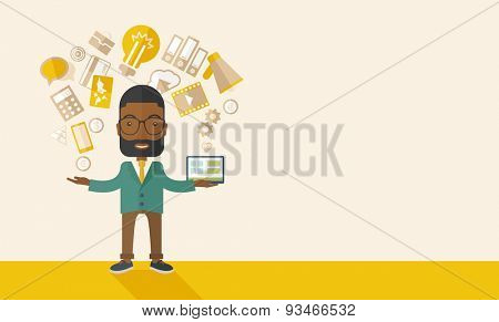 A happy black man standing enjoying doing multitasking, working on different project from his home to office only by himself. Self-reliance concept. A Contemporary style with pastel palette, soft
