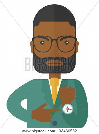 The black manager is angry pointing finger to his wristwatch showing the time that is already late. A Contemporary style. Vector flat design illustration isolated white background. Vertical layout