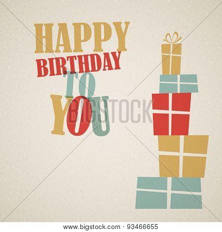 Happy birthday retro vector illustration with presents