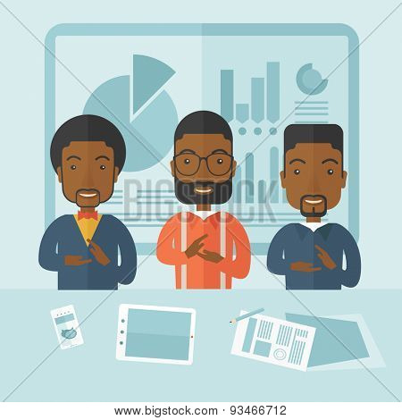Three black men speakers clapping their hands for a successful business financial presentation with tablet, smartphone and a paper as their guide. Teamwork concept. A contemporary style with pastel